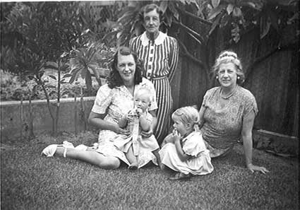 c1949 Jean Whaite with Phillip, her mother Elizabeth Aitken, Lilian M Whaite her mother in law , Jennifer Whaite daughter of Harry & Olive Whaite at Mosman